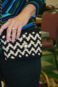 Close-up of the zig zag purse.  Didn't catch the name of who made it, but it's beautiful.