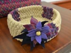 Peggyann Watts' basket, with cut wool felt flower