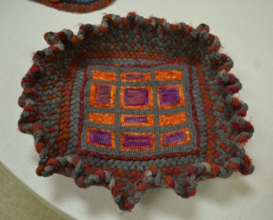 Dianne Tobias' basket with hooked bottom and braided sides