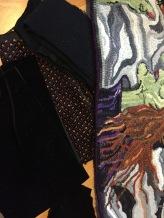 Black velvet, sparkle orange and black wool